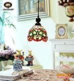 Makenier Tiffany Style Stained Glass Decorative Pattern Vintage Small Pendant Lamp - 7 Inches Lampshade