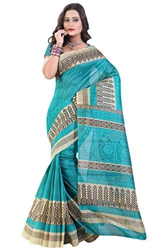 Glory Sarees Women's Bhagalpuri Art Silk Cotton Sarees(saree9_Blue)