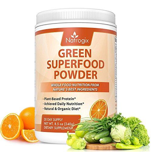 Green Superfood Orange, Natrogix Greens Powder Drink, Plant-Based Protein with Rich Vitamins, Minerals, Antioxidant Fruits, Wheatgrass, Barley Grass, Spinach, Alfalfa, Spirulina, Probiotics -8.5 Oz (Powder Green Fruit)