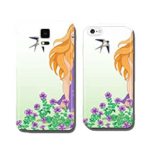 Girl, flowers and swallows cell phone cover case Samsung S6