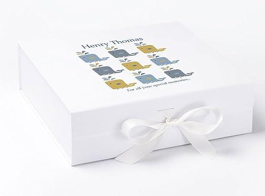 Caja de recuerdos, bebé caja de recuerdos, caja de recuerdos para bautizo, Baby Boy regalos, ballena