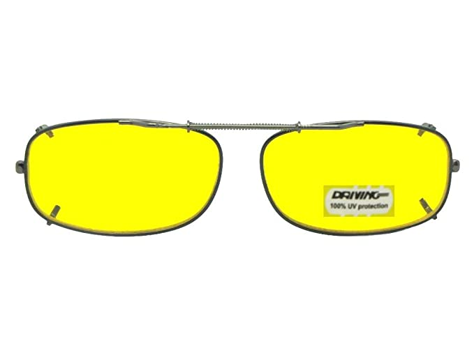 091d7ed02dd9 Skinny Curve Rectangle NON Polarized Yellow Lens Clip On Sunglasses  (Black-NON Polarized Yellow