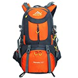 DAN Hiking Backpack Nylon Waterproof Large Capacity Daypack for Outdoor Sports Travel Fishing Cycling Skiing Climbing Camping Mountaineering (Orange-50L)