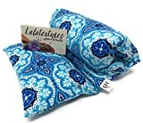The Flax Sak Unscented Large Microwave Heating Pad With Removable/Washable Cover. Hot/Cold Pack Blue Medallion.