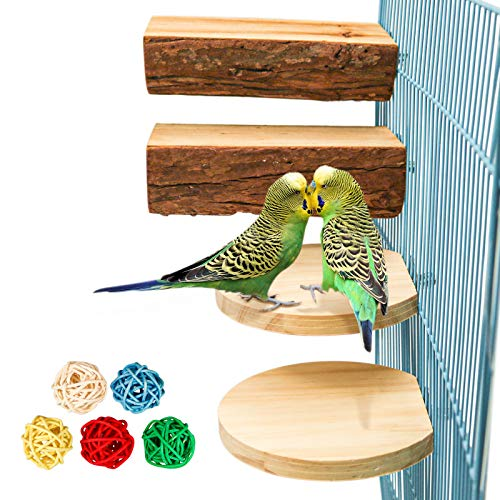 S-Mechanic 4 Pack Parrot Cage Perch Natural Wooden Perch Toys Bird Cage Toys Accessories for Small or Medium Conure,Parakeet,Budgie,Finches,Amazon Parrot(Style-1)