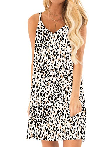 Leopard Print V-neck Dress - OFEEFAN Womens Summer Spaghetti Straps Dress V Neck Evening Casual Leopard Dresses L