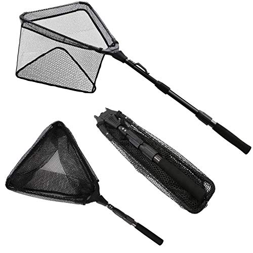 (KEESHINE Rubber Folding Fishing Landing Net, Carbon Fiber Telescoping Pole, Durable Nylon Material Mesh with Rubber Coating, Safe Fish Catching and Releasing (Extended Length: 43.31 inch / 1.1M))