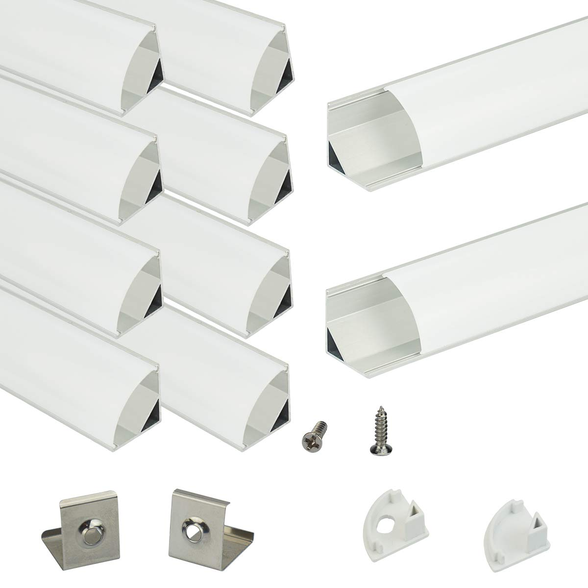 Muzata Aluminum Channel for Led Strip Light with Milky White Diffuser Cover. Aluminum Profile with Video, V-Shape, 10-Pack 6.6ft 2M V2SW,Series LV1