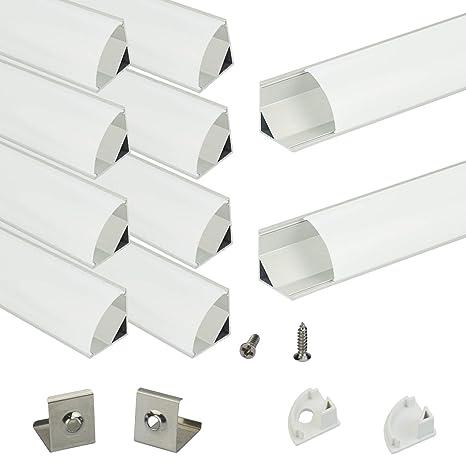 Muzata LED-Aluminium-Kanal mit milchiger weißer PC-Abdeckung für Lichtleisten, Aluminium-Extrusions-Schienenprofil für Streif