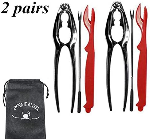 Lobster Crackers and Picks Seafood Tools Set Including 4 Forks and 2 Stainless Steel Lobster Crab Crackers Nut Cracker Set
