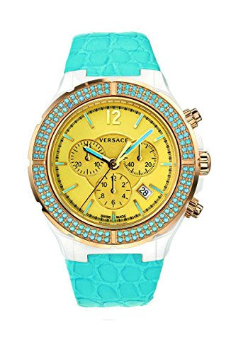 Versace Women's 28CCP12D585 S535 DV One Cruise Ceramic and Rose Gold Ion-Plated with Topaz Turquoise Leather Chronograph Watch