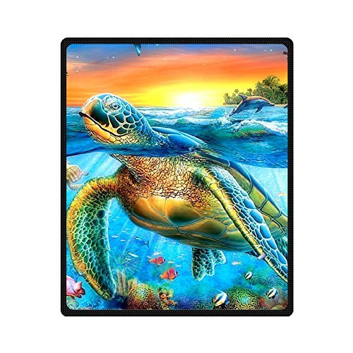 Custom Turtle Fishes Dolphin Blue Sea Coral Supersoft Throw Fleece Blanket 50