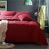 Unimall Set 4 Pezzi Completo Copripiumino 200*230cm in Puro Cotone con Lenzuola Piane e 2 Federe per Letto Due Piazze Matrimoniale Rosso