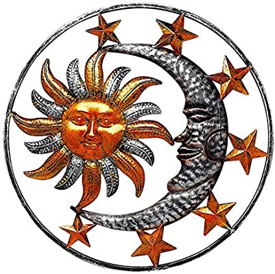 Large Metal Sun Moon Star Wall Art Sculpture Decor For Indoor Outdoor 17 Diameter Amazon Com Au Lawn Garden