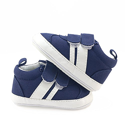 Isbasic Canvas Sneakers Shoes for Baby Boys Girls Toddler Non-Slip Rubber Sole Casual Infant Trainer (12-18 Months, Blue)