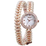 WeiQin Women's Charming Fashion Bracelet Pearl Alloy Band Quartz Analog Dress Wrist Watch