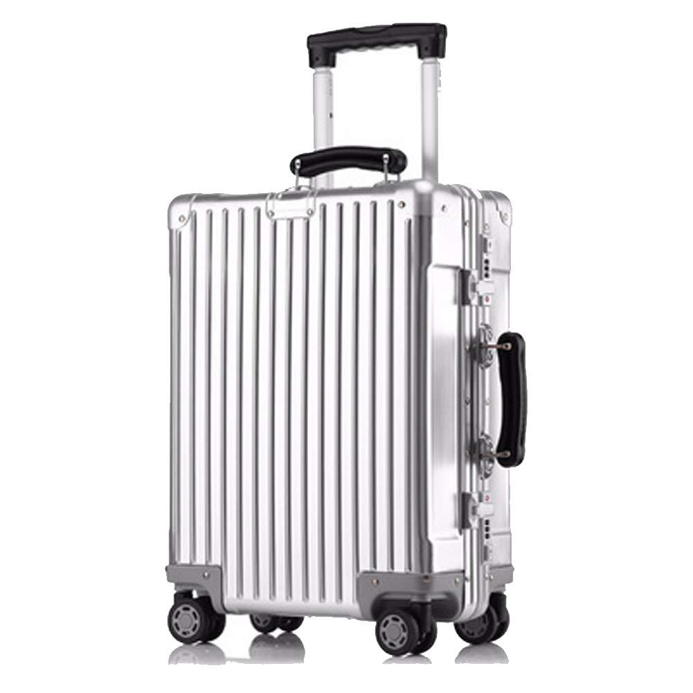 アルミフレーム荷物、アルミマグネシウム合金トロリーケース、女性用スーツケース、搭乗用バッグ、-Silver-S Small Silver B07R5Z83VG