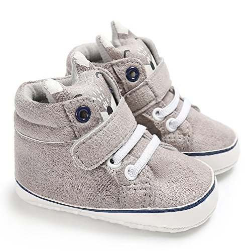 Isbasic Baby Boys Girls High-tops Sneakers Toddler Soft Sole First Walkers Shoes (12-18 months, gray)