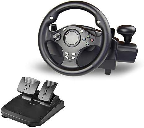 WRISCG Volante Racing USB Wheel Universal, Cambio Y Pedales (PS4 PS3 PS2 PC XBOX360 XBOXONE NSSWITCH Android TV Box) 7 en 1 Volante Giratorio de 270 °: Amazon.es: Deportes y aire libre