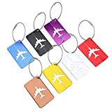 Luggage Tag,Asixx 7pcs Aluminium Alloy Travel Baggage Tags Hollow Out Plane Shape,Come a Stainless Steel Wire Rope,Available in 7 Bright Colors