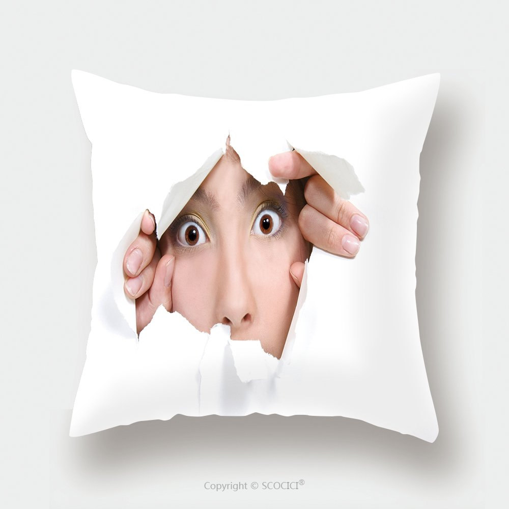 Custom Satin Pillowcase Protector Young Girl Peeping Through Hole In White Paper 41300032 Pillow Case Covers Decorative by chaoran