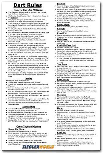 (Zieglerworld 11 x 17 Large Laminated Dart Rules & Regulations Poster)