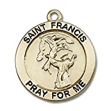 14kt Yellow Gold St. Francis Medal 3/4 x 3/4 inches