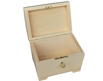 Pequeño madera natural / caja de madera con bisagras – con cerradura PSK10