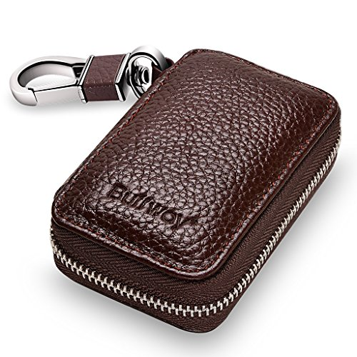 Buffway Car Key Holder,Genuine Leather Car Smart KeyChain Coin Case Metal Hook and Keyring Wallet Zipper Case for Auto Remote Key Fob – Coffee