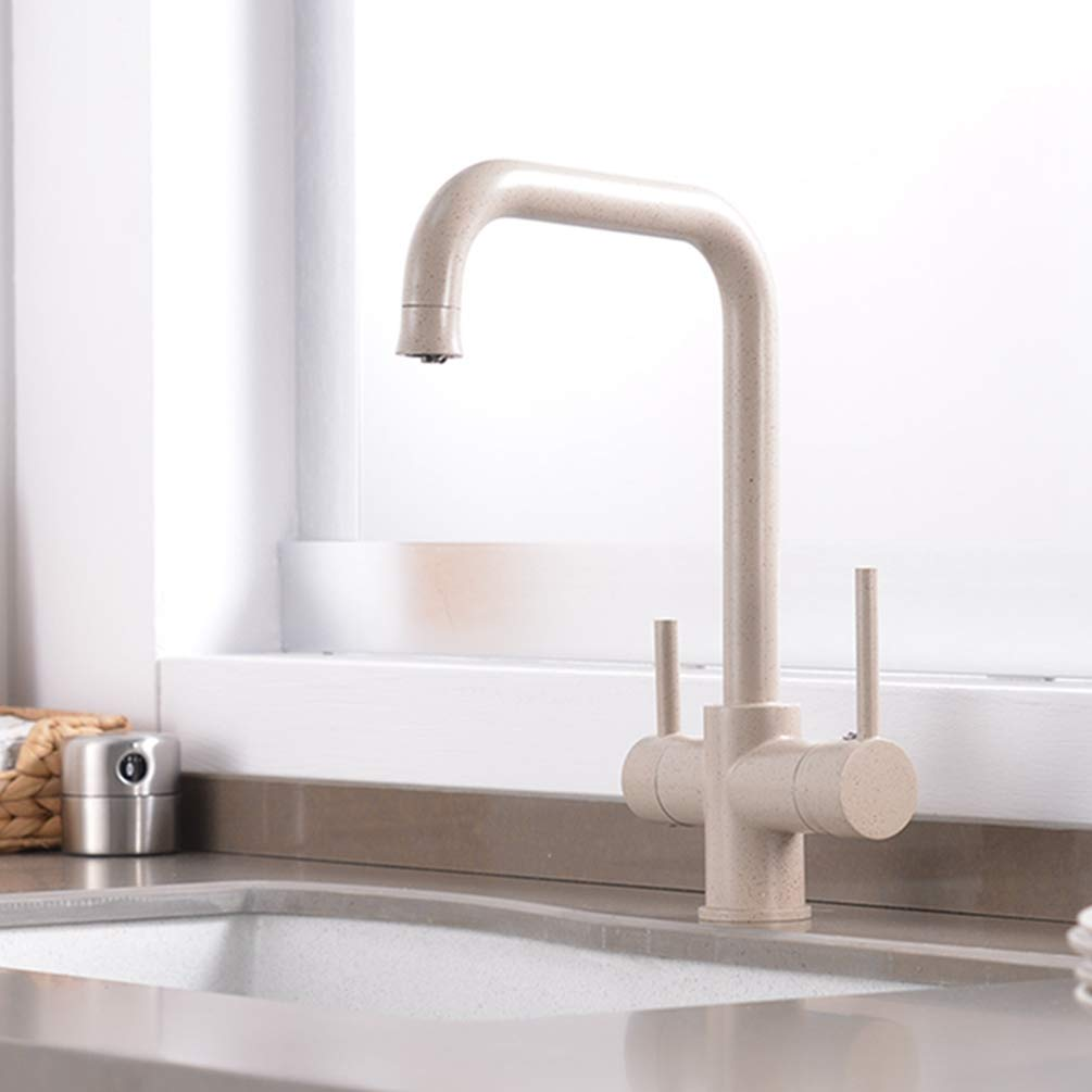 FZHLR Drinking Water Kitchen Faucet Sink Water Connection Pure & Simple Dual-Handle Kitchen Faucet With Pure Water Filter 3 Way,Beige With Dot