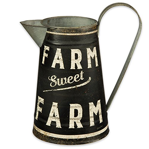 Pitcher Farm (Primatives by Kathy Farm Sweet Farm Large Rustic Metal Pitcher,Black)
