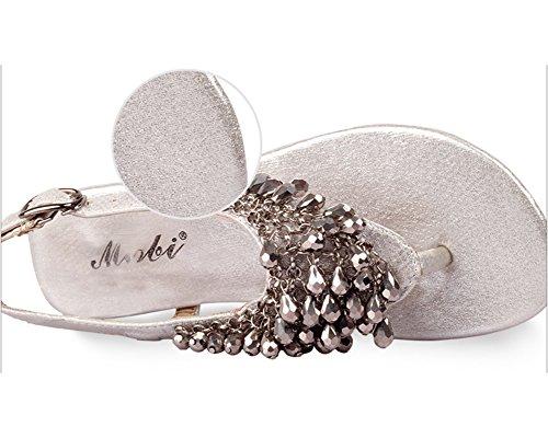 las Mujer Sandalias De Bohemia Zapatos De Hebilla Dedo Del Pie Del Clip Sandalias Playa Chancletas Plateado