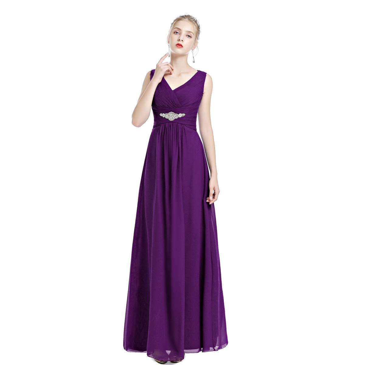 1db8f92f9d Women's Vintage Bridesmaid Formal Chiffon Wedding Prom Dress Sleeveless  V-Neck Spaghetti Strap Flowy Cocktail Evening Party Gowns Floor Length  A-line ...