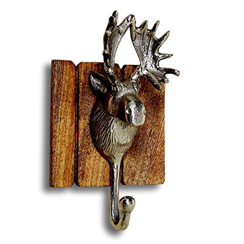 Whole House Worlds The Old Forge Moose Head Wall Hook, Artisan Crafted, Rustic Mango Wood, Cast Aluminum, 8 ¾ L x 5 W x 3 ½ H Inches, By (Moose Hook)