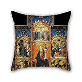 slimmingpiggy throw pillow case 16 x 16 inches / 40 by 40 cm(2 sides) nice choice for bar seat,gril friend,bar,valentine,pub,father oil painting Gonçal Peris Sarrià - Altarpiece of Saint Barbara