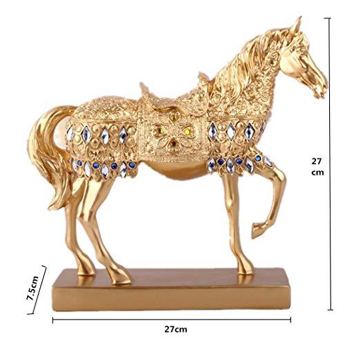 Medigy Grande Buda Adornos para Interior decoración del hogar Regalo de Navidad Oro, Gold Horse