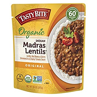 Tasty Bite Indian Entree Madras Lentils 10 Ounce (Pack of 6), Fully Cooked Indian Entrée with Lentils Red Beans & Spices in a Creamy Tomato Sauce, Microwaveable, Ready to Eat (782733000020)