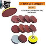 Dyna-Living 2 inch 100PCS Sanding Discs Pad Kit for Drill Grinder Rotary Tools with Backer Plate 1/4″ Shank Includes 80-3000 Grit Sandpapers Review