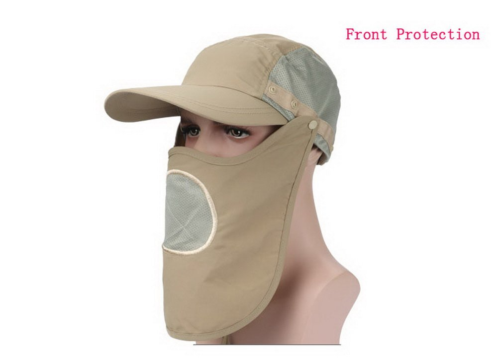 Amygreen Sun Hat With Mesh Face Mask Mens Womens Outdoor UPF 50