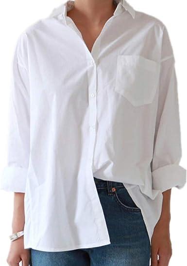 Camisas de Mujer Cuello Blusa de Talla Grande Botones de Manga Larga Camisa Blanca Tops: Amazon.es: Ropa y accesorios