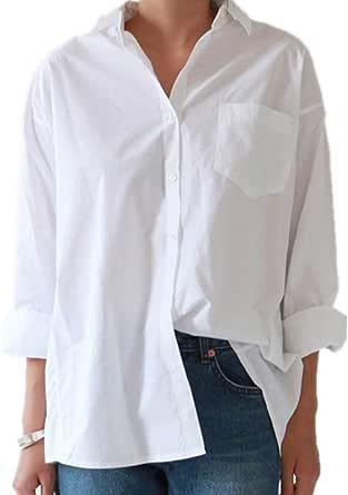 Camisas de Mujer Cuello Blusa de Talla Grande Botones de Manga Larga Camisa Blanca Tops