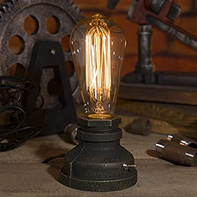Vintage Industrial Steampunk Table Dimmable Lamp Rustic Copper Water Pipe Bedside Desk Lamp( EU Plug )