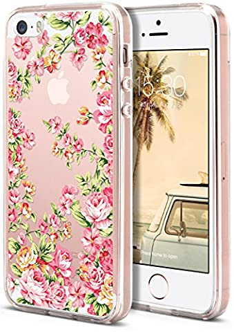 iPhone SE / 5S / 5 Case, ROOEL [Flower Floral Rose Artwork Pattern] Slim Soft Protective TPU Bumper Frame Hard Clear Transparent Acrylic PC Plastic Back for Apple iPhone 5S Phone (I Phone 5s Case In Pink)