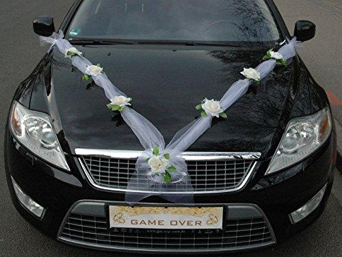Autoschmuck Organza M Auto Schmuck Braut Paar Rose Deko Dekoration