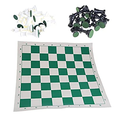 yournameI Tournament Chess Game Gifts Set, with Plastic Pieces and Green Roll -13.39x13.39inch
