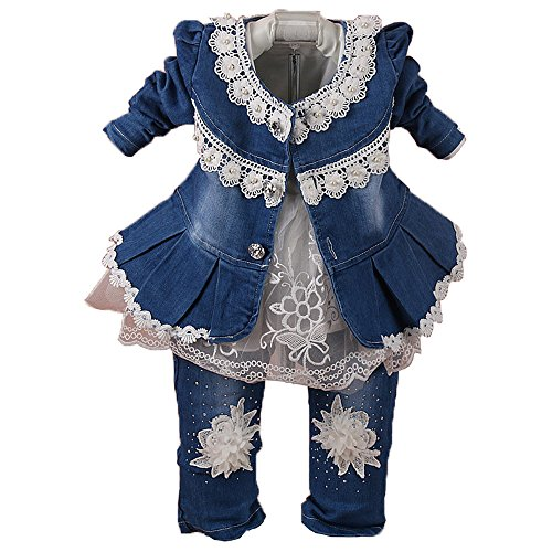 Spring Autumn Infant Little Baby Girls Clothing Set 3 Pieces Sets T Shirt Jacket and Jeans (1-2Years, White)