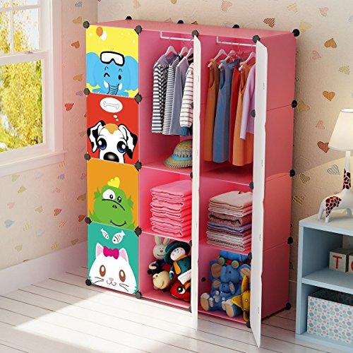 Kids Armoires - KOUSI Portable Kids Wardrobe Children Dresser Hanging Storage Rack Clothes Closet Bedroom Armoire Cube Organizer Formaldehyde-free Furniture, Pink, 8 Cubes&2 Hanging Sections