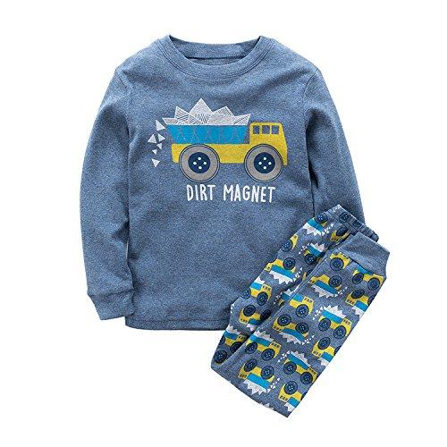 MAMABIBI Boys Pajamas Dinosaur Trucks Long Sleeve Kids Pjs Toddler Clothe Size 1-8T