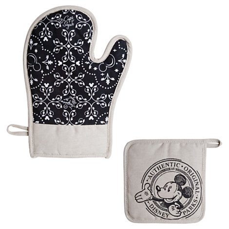Disney Parks Gourmet Mickey Mouse Potholder Oven Mitt 2 Pc Set