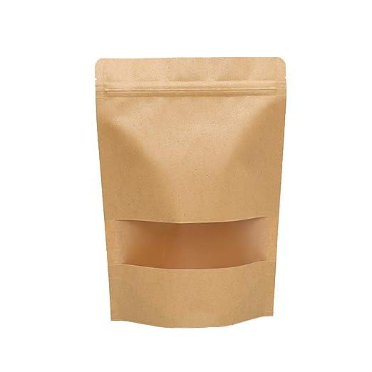 TOYANDONA 50 unids Kraft Paper Zipper Bag Kraft Zip Lock Bag ...
